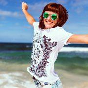 woman jumping sunglasses
